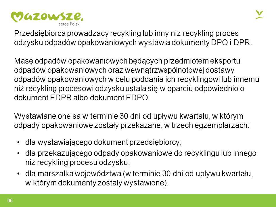 96 Przedsiębiorca prowadzący recykling lub inny niż recykling proces odzysku odpadów opakowaniowych wystawia dokumenty DPO i DPR.