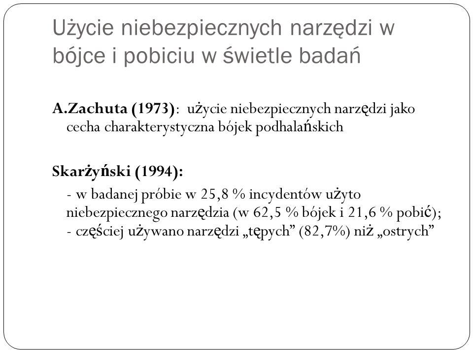 Użycie niebezpiecznych narzędzi w bójce i pobiciu w świetle badań A.Zachuta (1973): u ż ycie niebezpiecznych narz ę dzi jako cecha charakterystyczna b