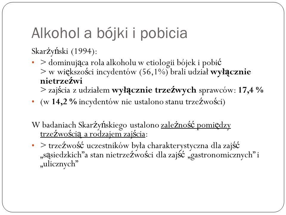 Alkohol a bójki i pobicia Skar ż y ń ski (1994): > dominuj ą ca rola alkoholu w etiologii bójek i pobi ć > w wi ę kszo ś ci incydentów (56,1%) brali u