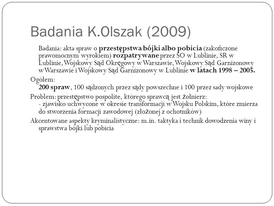 Badania K.Olszak (2009) Badania: akta spraw o przest ę pstwa bójki albo pobicia (zako ń czone prawomocnym wyrokiem) rozpatrywane przez SO w Lublinie,