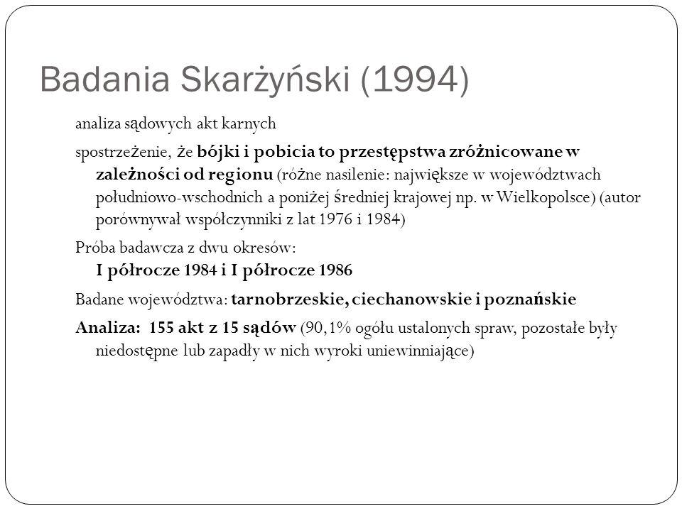 Badania Skarżyński (1994) analiza s ą dowych akt karnych spostrze ż enie, ż e bójki i pobicia to przest ę pstwa zró ż nicowane w zale ż no ś ci od reg