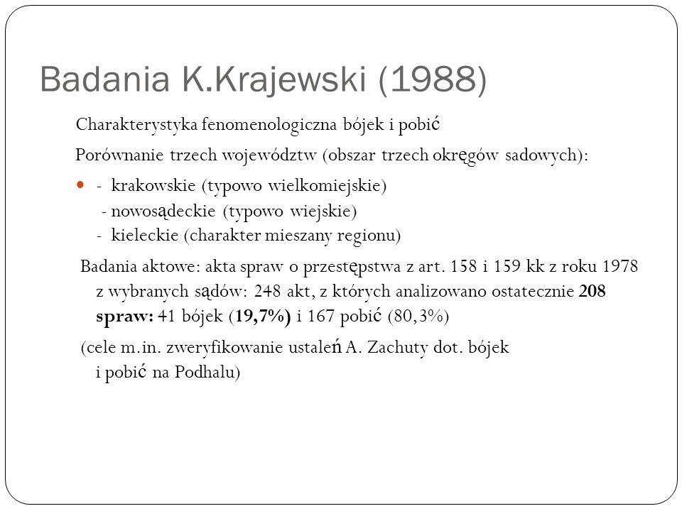 Badania K.Krajewski (1988) Charakterystyka fenomenologiczna bójek i pobi ć Porównanie trzech województw (obszar trzech okr ę gów sadowych): - krakowsk