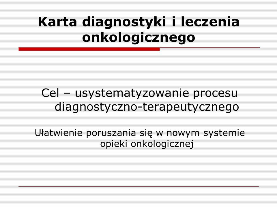 Karta diagnostyki i leczenia onkologicznego Cel – usystematyzowanie procesu diagnostyczno-terapeutycznego Ułatwienie poruszania się w nowym systemie o