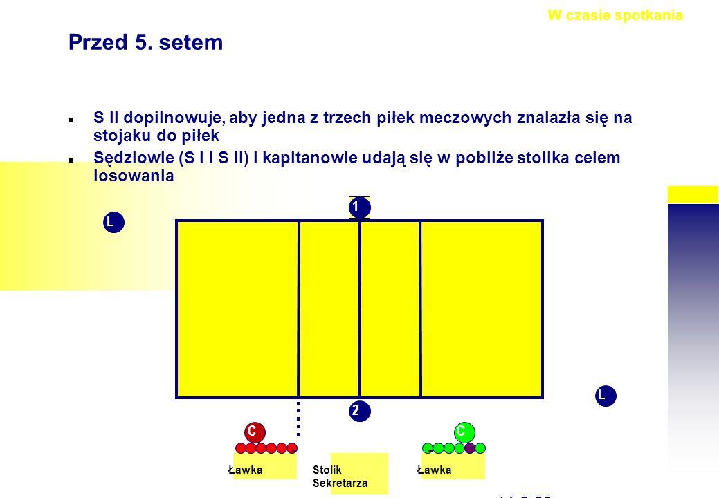 str on a 50 14-9-30, Przed 5. setem S II dopilnowuje, aby jedna z trzech piłek meczowych znalazła się na stojaku do piłek Sędziowie (S I i S II) i kap