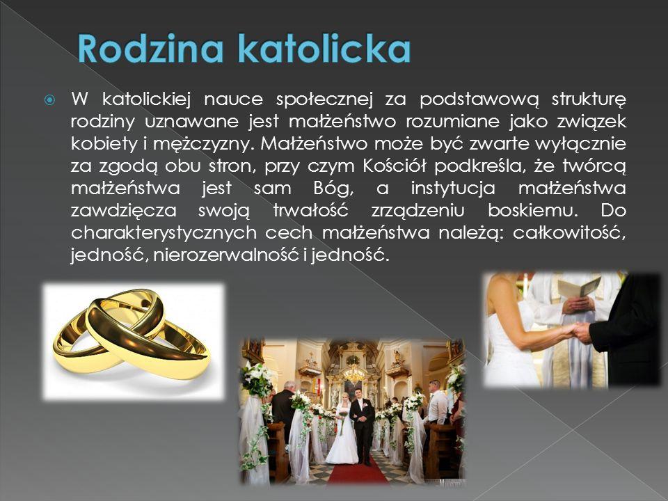  W katolickiej nauce społecznej za podstawową strukturę rodziny uznawane jest małżeństwo rozumiane jako związek kobiety i mężczyzny. Małżeństwo może