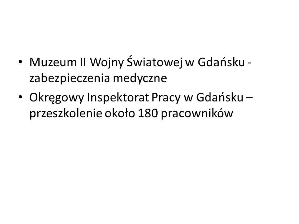 Muzeum II Wojny Światowej w Gdańsku - zabezpieczenia medyczne Okręgowy Inspektorat Pracy w Gdańsku – przeszkolenie około 180 pracowników