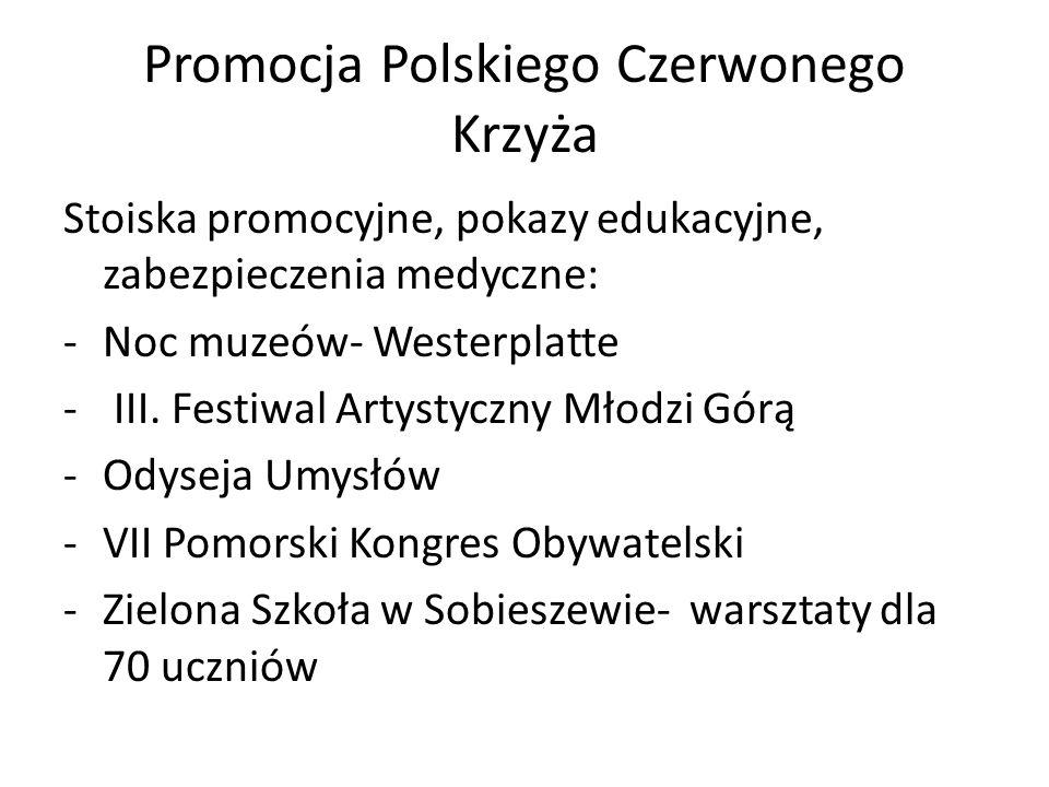 """Kwesta """" Godne dzieciństwo TESCO 2013 OR PCK w Chojnicach– 1717,14 zł OR PCK w Człuchowie – 2143,50 zł POO PCK - 6170,64 zł ( Gdańsk, Gdynia) Zakupiono 70 zestawów szkolnych dla uczniów oraz 200 paczek świątecznych"""