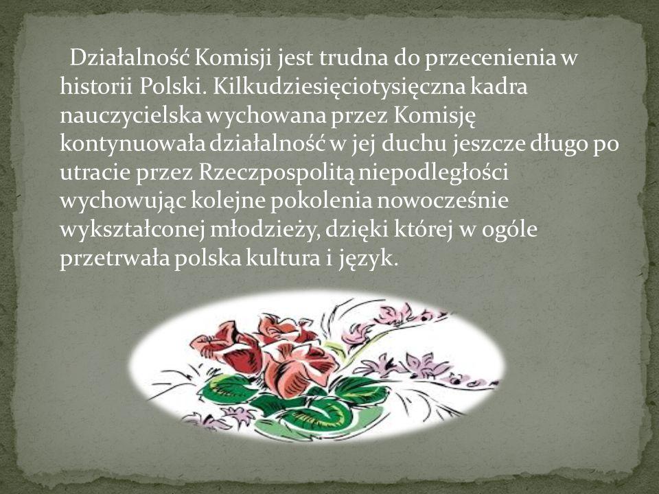 Działalność Komisji jest trudna do przecenienia w historii Polski. Kilkudziesięciotysięczna kadra nauczycielska wychowana przez Komisję kontynuowała d