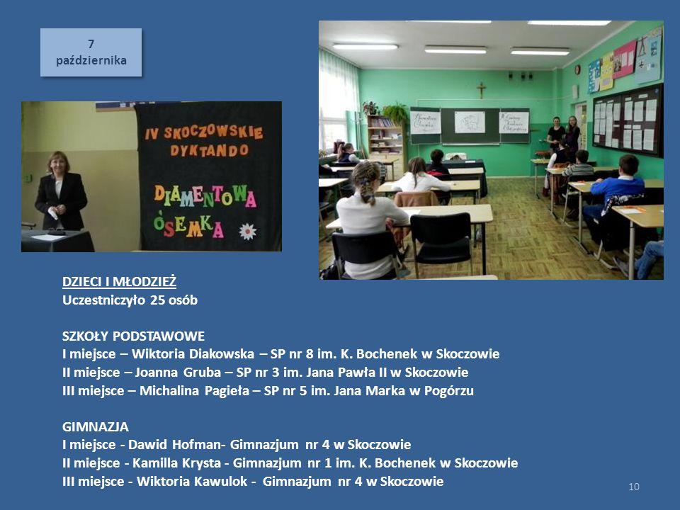 7 października 7 października 10 DZIECI I MŁODZIEŻ Uczestniczyło 25 osób SZKOŁY PODSTAWOWE I miejsce – Wiktoria Diakowska – SP nr 8 im. K. Bochenek w