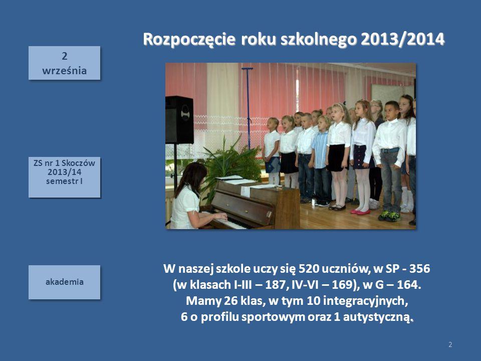 2 września 2 września akademia Rozpoczęcie roku szkolnego 2013/2014 W naszej szkole uczy się 520 uczniów, w SP - 356 (w klasach I-III – 187, IV-VI – 169), w G – 164.