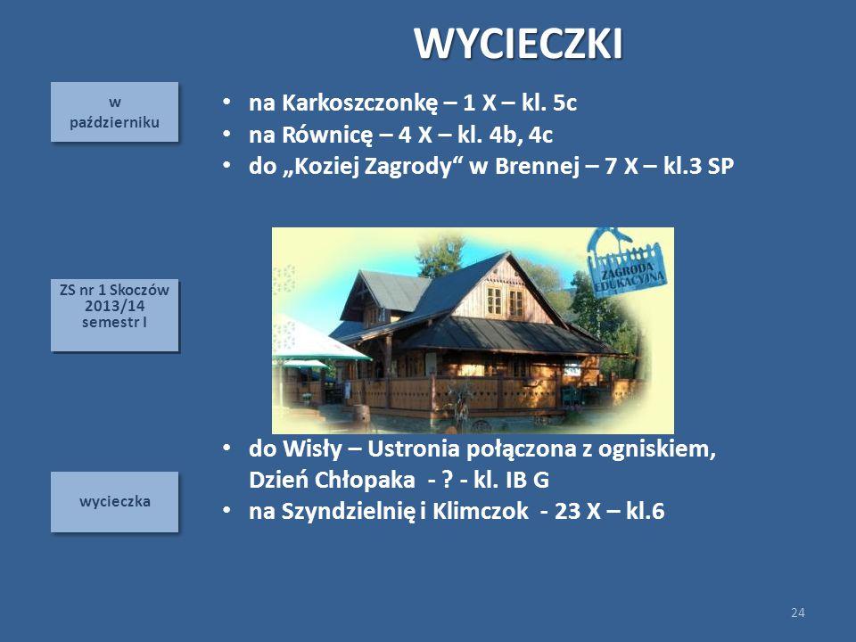 w październiku w październiku wycieczka WYCIECZKI 24 ZS nr 1 Skoczów 2013/14 semestr I ZS nr 1 Skoczów 2013/14 semestr I na Karkoszczonkę – 1 X – kl.