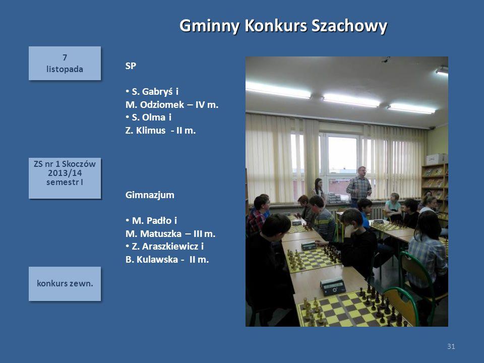 7 listopada 7 listopada konkurs zewn. 31 ZS nr 1 Skoczów 2013/14 semestr I ZS nr 1 Skoczów 2013/14 semestr I Gminny Konkurs Szachowy SP S. Gabryś i M.