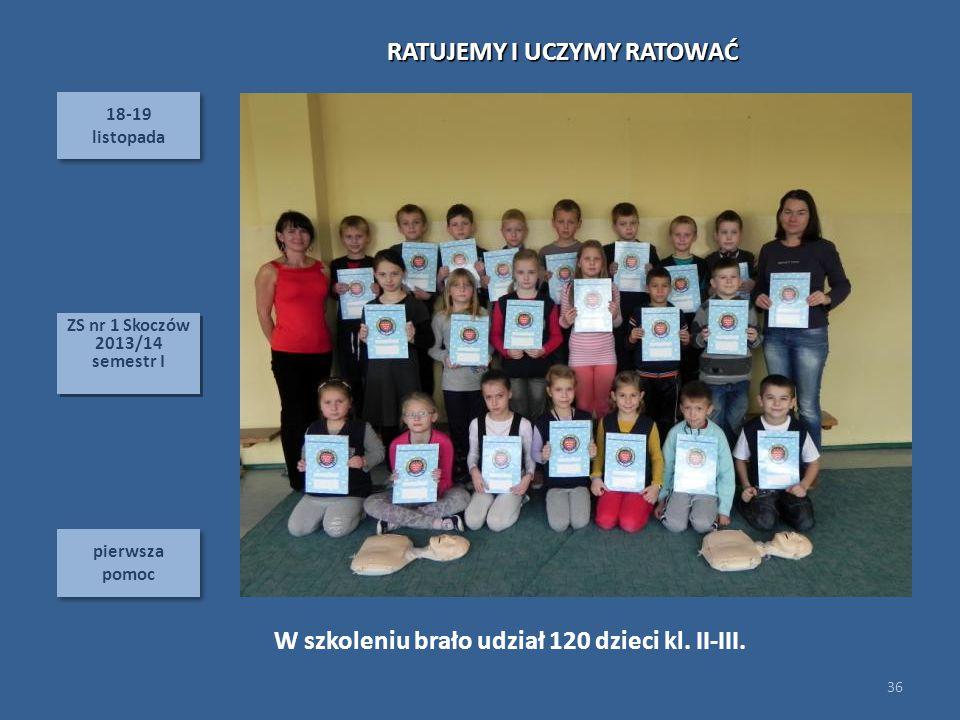18-19 listopada 18-19 listopada pierwsza pomoc 36 ZS nr 1 Skoczów 2013/14 semestr I ZS nr 1 Skoczów 2013/14 semestr I W szkoleniu brało udział 120 dzieci kl.