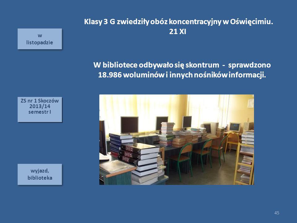 w listopadzie w listopadzie wyjazd, biblioteka 45 ZS nr 1 Skoczów 2013/14 semestr I ZS nr 1 Skoczów 2013/14 semestr I W bibliotece odbywało się skontrum - sprawdzono 18.986 woluminów i innych nośników informacji.