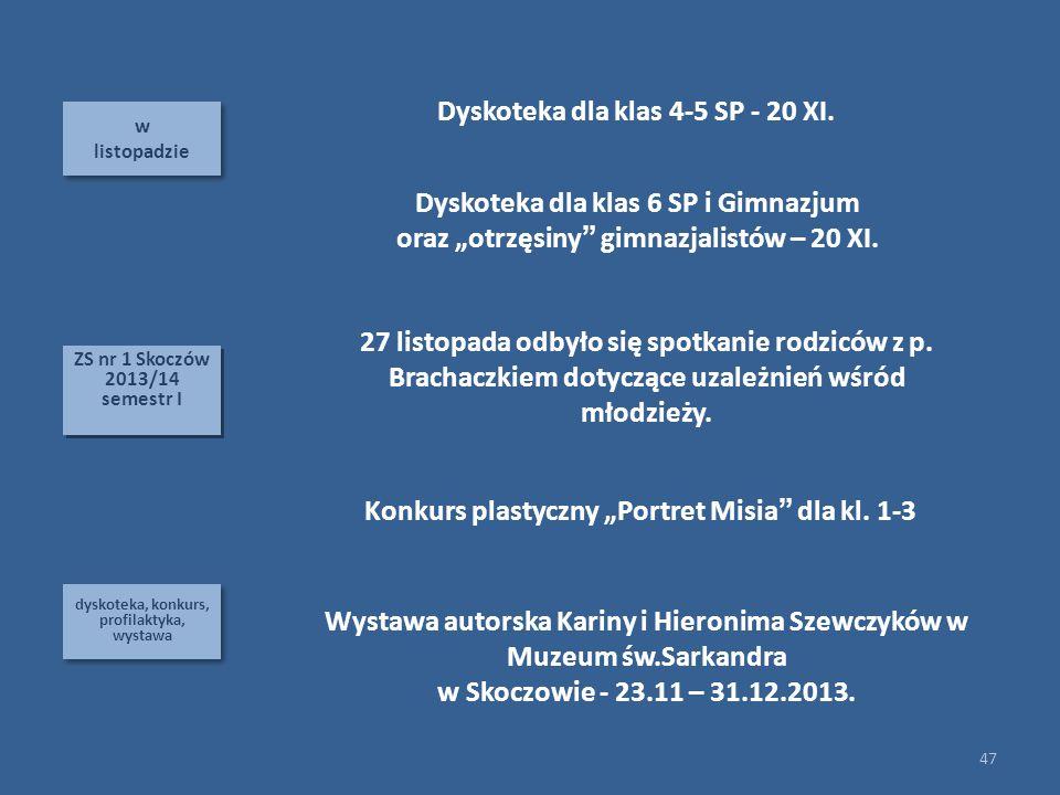 w listopadzie w listopadzie dyskoteka, konkurs, profilaktyka, wystawa 47 ZS nr 1 Skoczów 2013/14 semestr I ZS nr 1 Skoczów 2013/14 semestr I Dyskoteka dla klas 4-5 SP - 20 XI.