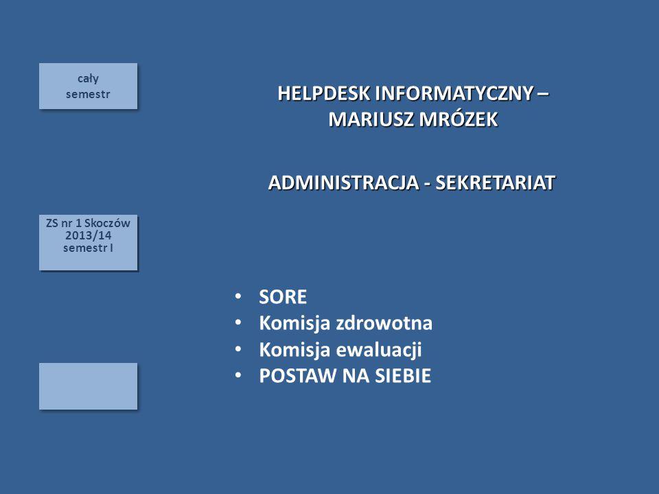cały semestr cały semestr ZS nr 1 Skoczów 2013/14 semestr I ZS nr 1 Skoczów 2013/14 semestr I SORE Komisja zdrowotna Komisja ewaluacji POSTAW NA SIEBIE HELPDESK INFORMATYCZNY – MARIUSZ MRÓZEK ADMINISTRACJA - SEKRETARIAT
