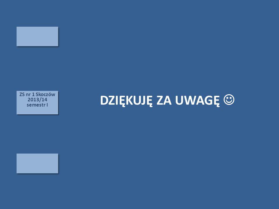ZS nr 1 Skoczów 2013/14 semestr I ZS nr 1 Skoczów 2013/14 semestr I DZIĘKUJĘ ZA UWAGĘ