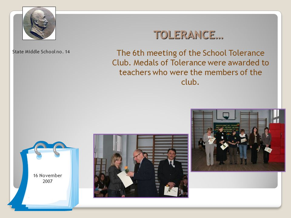 TOLERANCE… The 6th meeting of the School Tolerance Club.