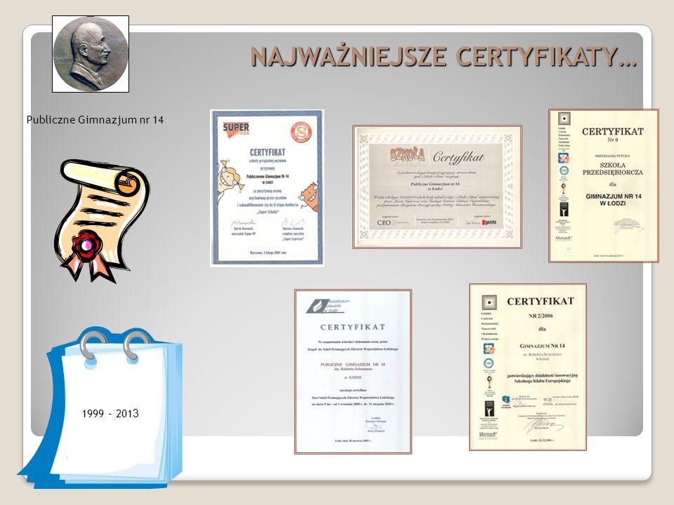 Publiczne Gimnazjum nr 14 NAJWAŻNIEJSZE CERTYFIKATY… 1999 - 201 3