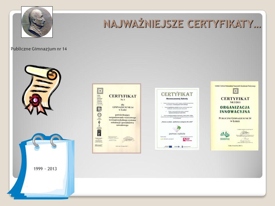 Publiczne Gimnazjum nr 14 NAJWAŻNIEJSZE CERTYFIKATY… 1999 - 2013
