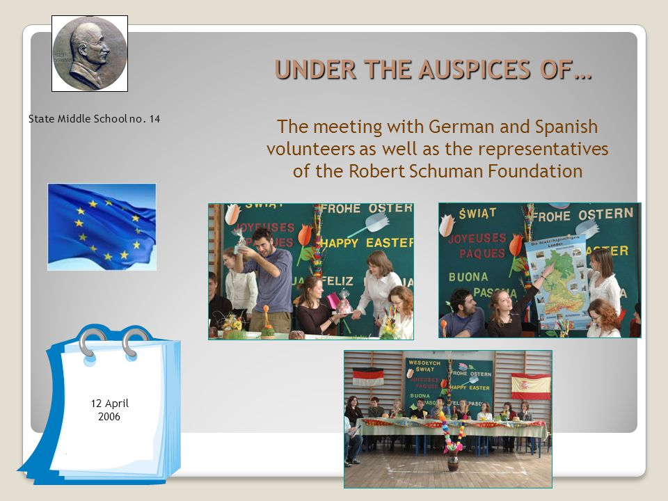 UNDER THE AUSPICES OF… The meeting with German and Spanish volunteers as well as the representatives of the Robert Schuman Foundation State Middle School no.