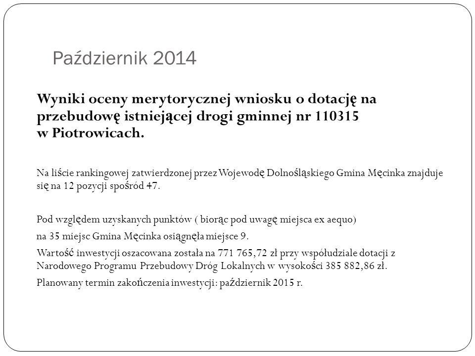 Październik 2014 Wyniki oceny merytorycznej wniosku o dotacj ę na przebudow ę istniej ą cej drogi gminnej nr 110315 w Piotrowicach.