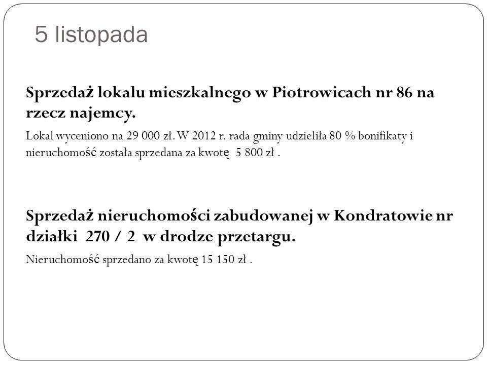 5 listopada Sprzeda ż lokalu mieszkalnego w Piotrowicach nr 86 na rzecz najemcy.