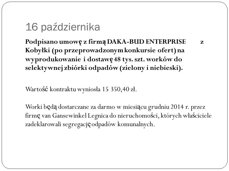 16 października Podpisano umow ę z firm ą DAKA-BUD ENTERPRISE z Kobyłki (po przeprowadzonym konkursie ofert) na wyprodukowanie i dostaw ę 48 tys.