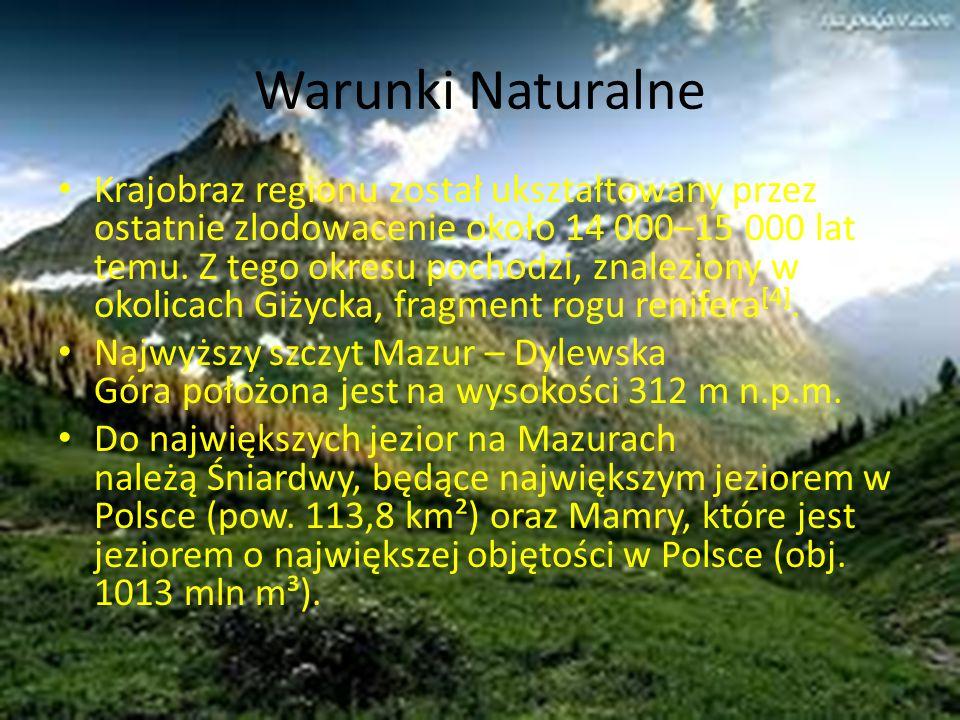 Warunki Naturalne Krajobraz regionu został ukształtowany przez ostatnie zlodowacenie około 14 000–15 000 lat temu. Z tego okresu pochodzi, znaleziony