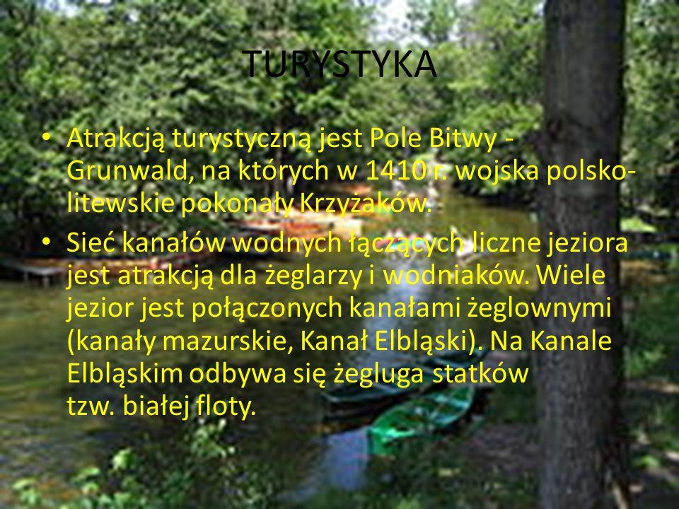 TURYSTYKA Atrakcją turystyczną jest Pole Bitwy - Grunwald, na których w 1410 r. wojska polsko- litewskie pokonały Krzyżaków. Sieć kanałów wodnych łącz