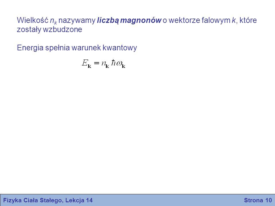 Wielkość n k nazywamy liczbą magnonów o wektorze falowym k, które zostały wzbudzone Energia spełnia warunek kwantowy Fizyka Ciała Stałego, Lekcja 14 Strona 10
