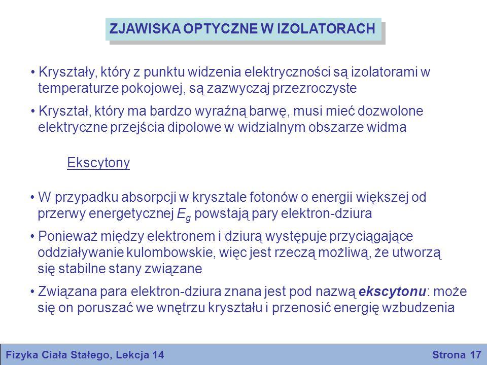 Fizyka Ciała Stałego, Lekcja 14 Strona 17 ZJAWISKA OPTYCZNE W IZOLATORACH Kryształy, który z punktu widzenia elektryczności są izolatorami w temperatu
