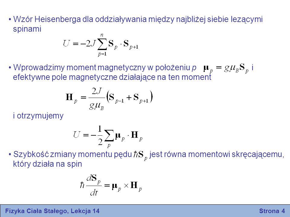 Fizyka Ciała Stałego, Lekcja 14 Strona 4 Wzór Heisenberga dla oddziaływania między najbliżej siebie lezącymi spinami Wprowadzimy moment magnetyczny w położeniu p i efektywne pole magnetyczne działające na ten moment i otrzymujemy Szybkość zmiany momentu pędu jest równa momentowi skręcającemu, który działa na spin