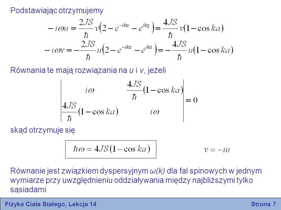 Podstawiając otrzymujemy Równania te mają rozwiązania na u i v, jeżeli skąd otrzymuje się Równanie jest związkiem dyspersyjnym ω(k) dla fal spinowych w jednym wymiarze przy uwzględnieniu oddziaływania między najbliższymi tylko sąsiadami Fizyka Ciała Stałego, Lekcja 14 Strona 7