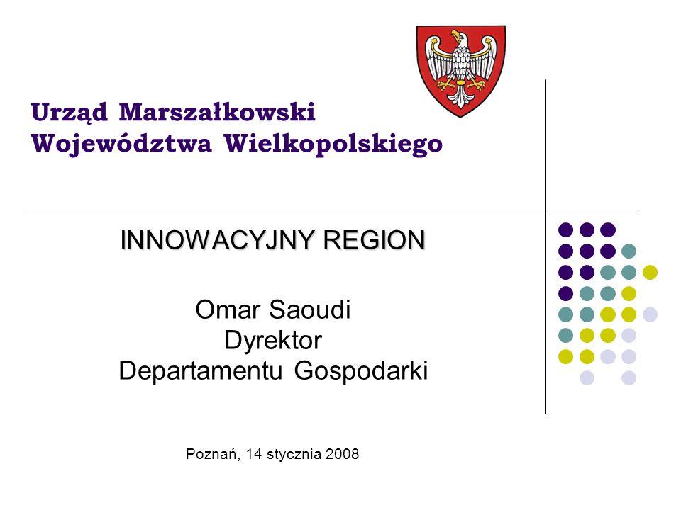 Innowacyjny region  Gęstość powiązań w regionie (dzielenie się wiedzą)  Gospodarka oparta na wiedzy (przewaga technologiczna, a nie kosztowa)  Polityka rozwoju kapitału ludzkiego  Infrastruktura  Polityka zagospodarowania przestrzennego  Internacjonalizacja firm  Promocja – marketing terytorialny  Jakość pracy administracji publicznej (sprawne administrowanie i zarządzanie jednostką terytorialną)  Społeczeństwo informacyjne  Ekologia  Efektywna absorpcja żródeł finansowych (szczególnie funduszy strukturalnych) Poznań, 14 stycznia 2008