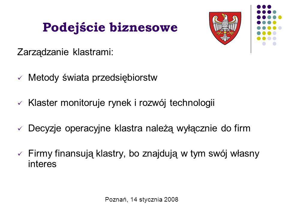 Podejście biznesowe Zarządzanie klastrami: Metody świata przedsiębiorstw Klaster monitoruje rynek i rozwój technologii Decyzje operacyjne klastra należą wyłącznie do firm Firmy finansują klastry, bo znajdują w tym swój własny interes Poznań, 14 stycznia 2008