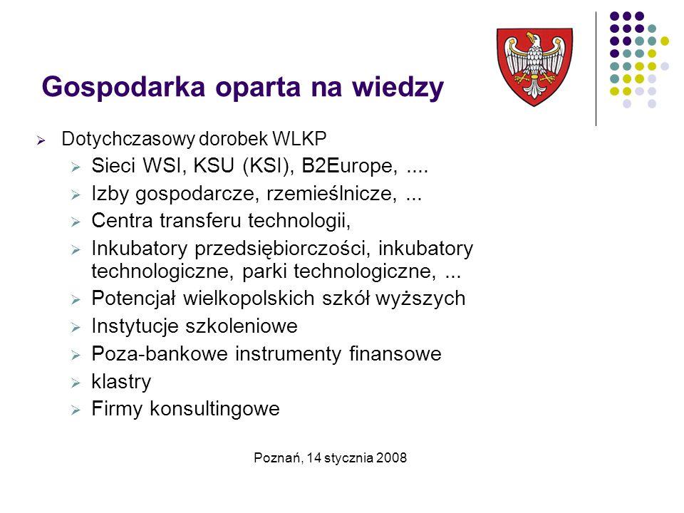 Gospodarka oparta na wiedzy  Dotychczasowy dorobek WLKP  Sieci WSI, KSU (KSI), B2Europe,....