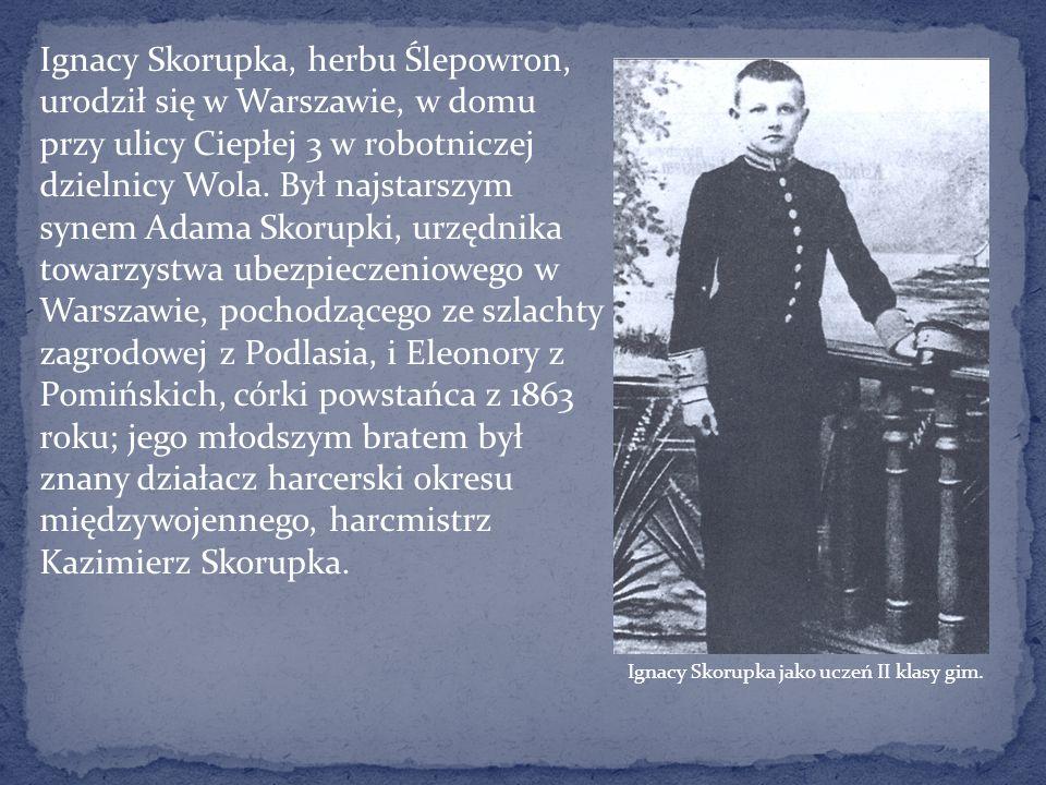 Ignacy Skorupka, herbu Ślepowron, urodził się w Warszawie, w domu przy ulicy Ciepłej 3 w robotniczej dzielnicy Wola. Był najstarszym synem Adama Skoru
