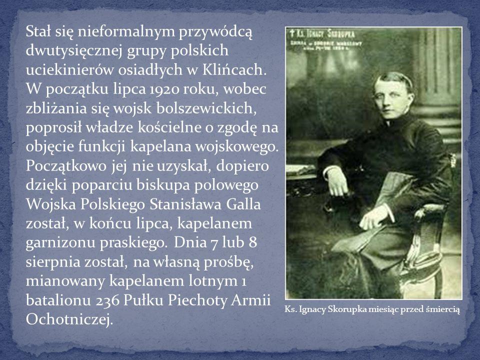 Stał się nieformalnym przywódcą dwutysięcznej grupy polskich uciekinierów osiadłych w Klińcach. W początku lipca 1920 roku, wobec zbliżania się wojsk