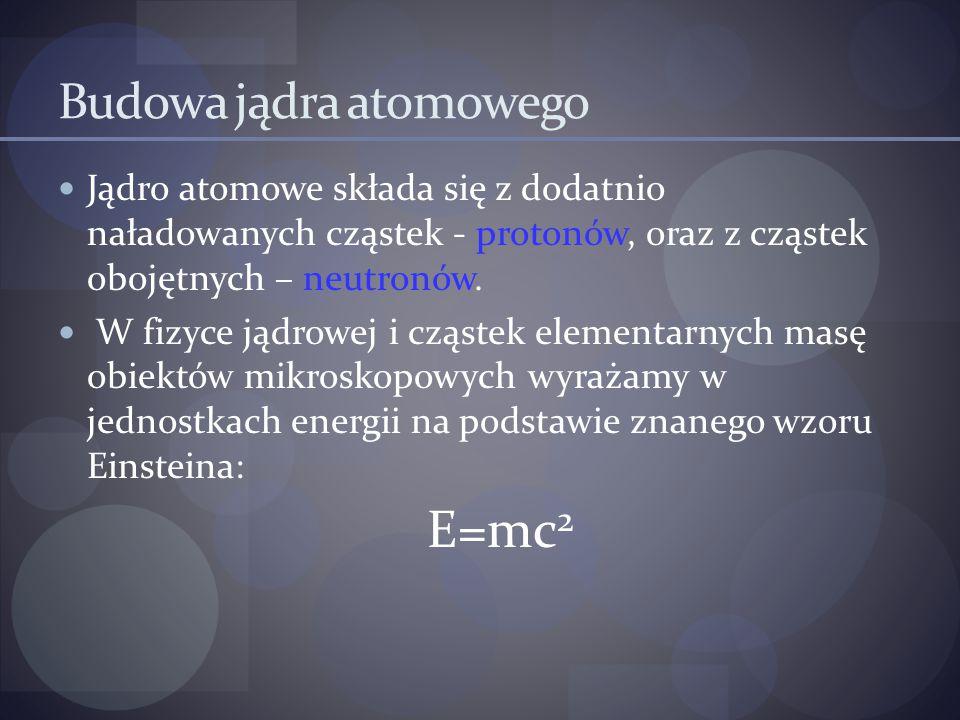 Budowa jądra atomowego Jądro atomowe składa się z dodatnio naładowanych cząstek - protonów, oraz z cząstek obojętnych – neutronów. W fizyce jądrowej i