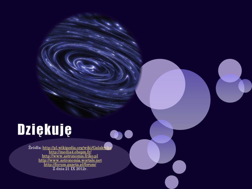 Źródła: http://pl.wikipedia.org/wiki/Galaktyka http://media4.obspm.fr/ http://www.astronomia.friko.pl http://www.astronomia.wortale.net http://forum.g