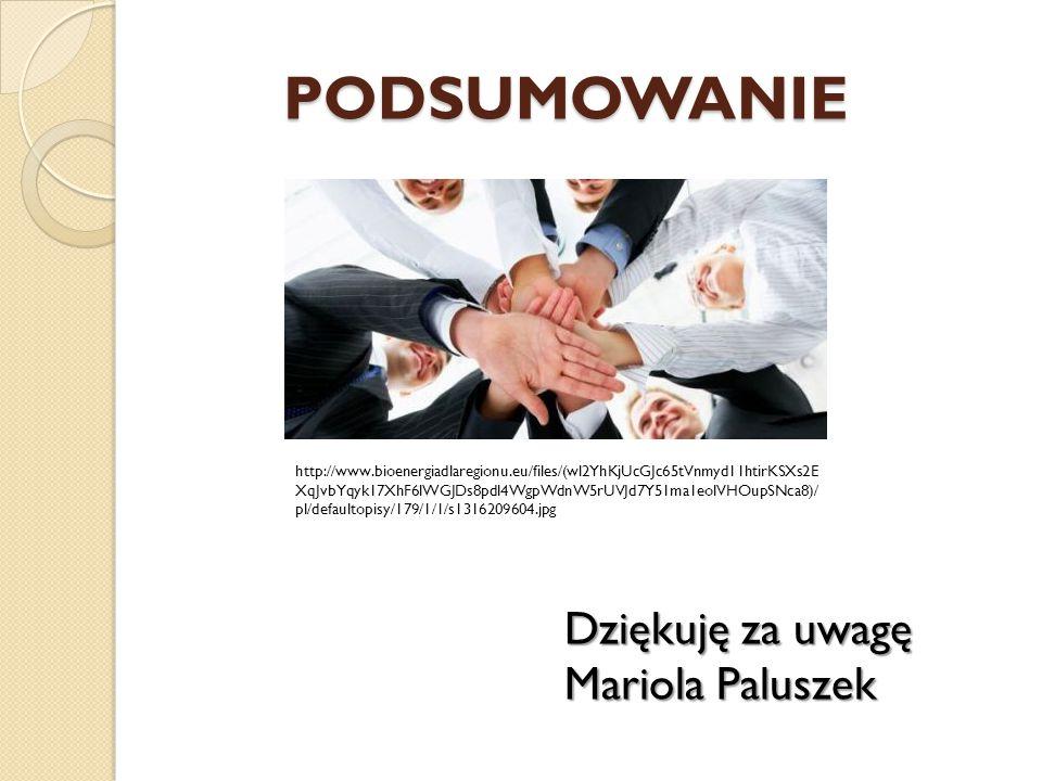PODSUMOWANIE Dziękuję za uwagę Mariola Paluszek http://www.bioenergiadlaregionu.eu/files/(wl2YhKjUcGJc65tVnmyd11htirKSXs2E XqJvbYqyk17XhF6lWGJDs8pdl4WgpWdnW5rUVJd7Y51ma1eolVHOupSNca8)/ pl/defaultopisy/179/1/1/s1316209604.jpg