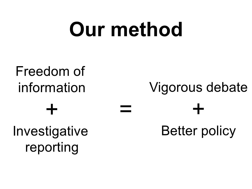 Our method Freedom of information + Investigative reporting Vigorous debate + Better policy =