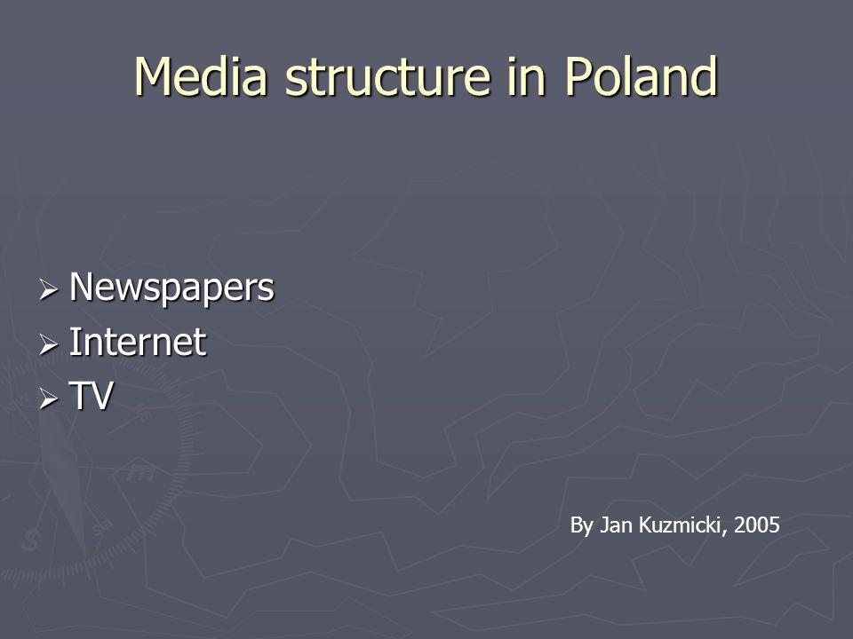 Media structure in Poland Newspapers Newspapers Internet Internet TV TV By Jan Kuzmicki, 2005