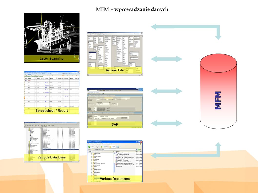 MFM – wprowadzanie danych MFM Laser Scanning Access File Spreadsheet / Report SAP Various Data Base Various Documents