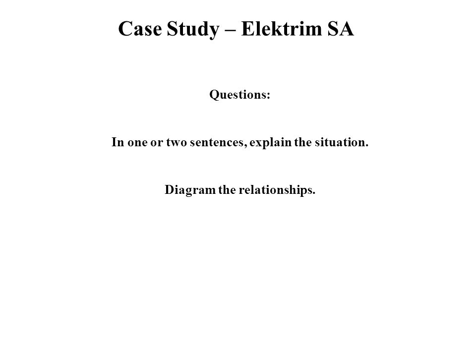 Case Study – Elektrim SA Questions: In one or two sentences, explain the situation.
