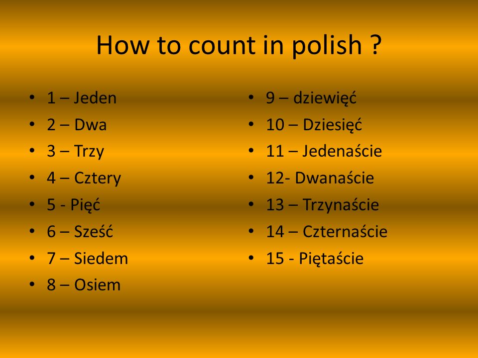 How to count in polish .
