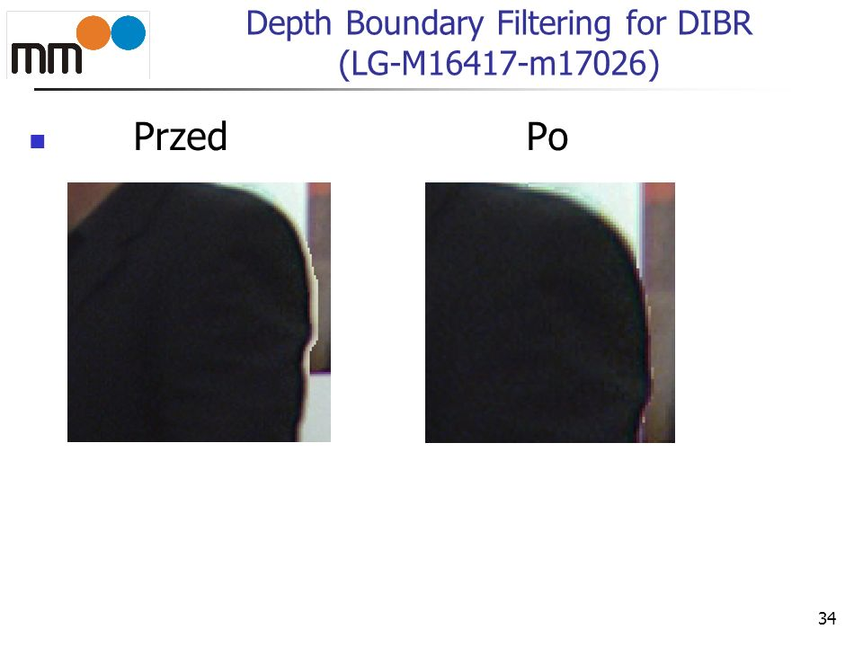 34 Depth Boundary Filtering for DIBR (LG-M16417-m17026) Przed Po