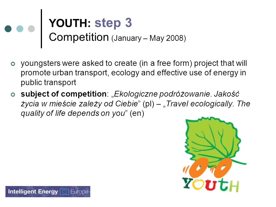 YOUTH: step 3 Competition (January – May 2008) youngsters were asked to create (in a free form) project that will promote urban transport, ecology and effective use of energy in public transport subject of competition: Ekologiczne podróżowanie.