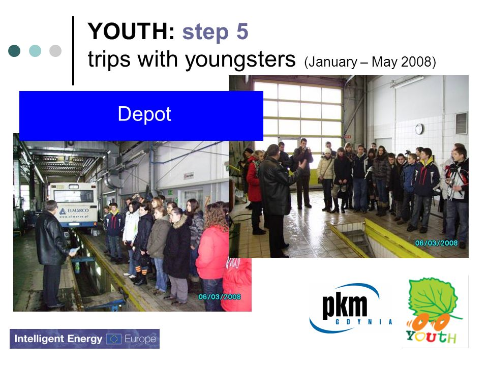 YOUTH: step 5 trips with youngsters (January – May 2008) Depot